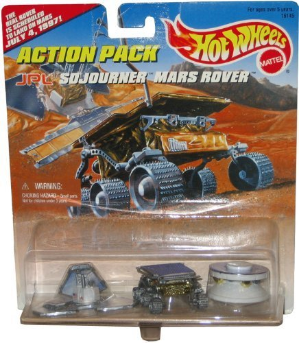 JPL SOJOURNER MARS ROVER Hot Wheels Action Pack with The Real Rover is Schuduled to Land On Mars July 4, 1997! Limited Edition 1:64 Scale Die Cast Play Set by Hot Wheels (Hot Wheels Mars)