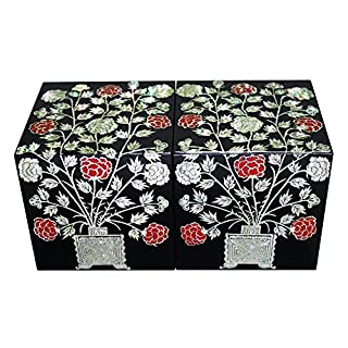 Mutter der Perle Holz Lack schwarz Korean Pfingstrose Blume Magnetverschluss Schmuck Etui Schmuckkästchen Andenken Schatz Geschenk-Box Organizer Halter