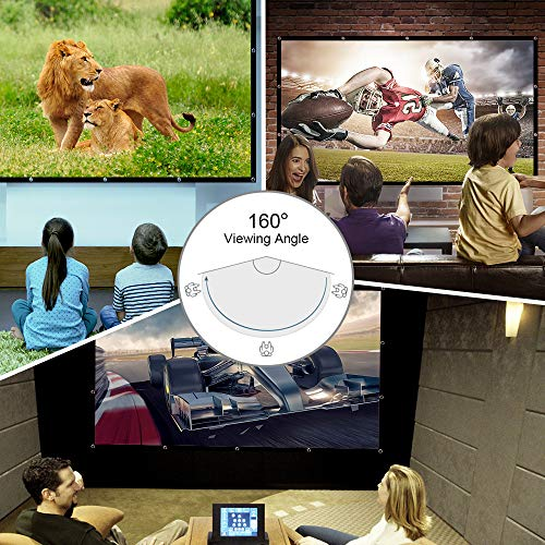 60 Inch 16:9 HD Projector Screen, Nell Zimi Portable Video Screen Widescreen Foldable Anti-Crease Indoor Outdoor Projector Movies Screen for Home Theater Support Double Sided Projection