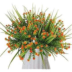 MIHOUNION 4 ramos flores artificiales plantas de plástico baby breath gypsophila flores de simulación arreglos de flores para jarrones decoración boda hogar fiesta oficina naranja