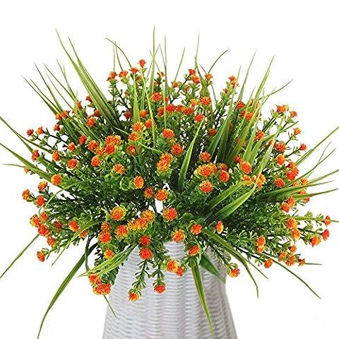MIHOUNION 4 Stück Künstliche Sträucher Grün Pflanzen Kleine Orange Kunstblumen Grün Blätter Arrangement Home Garten Büro Veranda Hochzeit Pflanzenwand Deko blumen