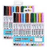 Mylifeunit White Board Marker, fine Point Dry cancellare marcatori con 8colori, confezione da 2 140 mm 12 Colours