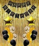 Ohighing Happy Birthday Girlande Schwarz Gold Geburtstagsdeko Party Deko Set 1 Partybanner 2 Folienvorhänge 16 Luftballons 2 Folienballons für Damen Herren
