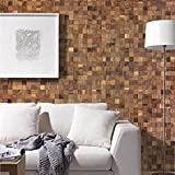 Wandverkleidung-Holz 3D Optik I Nussbaum I 30x30cm Netz nachhaltige EchtHolz Wand-paneele I Moderne Wanddekoration Wohnzimmer, Küche