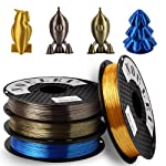 Noulei Shiny PLA 3D Printer Filament, 1.75mm 0.5kg x 4 Spool, Silk Gold Rose Gold Antique Gold Sapphire Blue