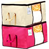 Kuber Industries Underbed Storage Bag, Storage Organiser, Blanket Cover Set of 2 - Ivory,Pink Extra Large Size…