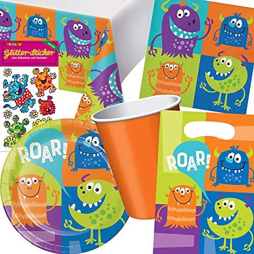 Carpeta 101-tlg. Party-Set * Monster * für Halloween & Kindergeburtstag | mit Teller + Becher + Servietten + Deko | Kinder Geburtstag Motto Grusel süß