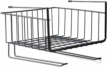 Kurtzy Under Shelf Hanger Basket Stainless Steel Hook Rack Storage for Kitchen Cabinet Bedroom & Bathroom Organizer Assorted Colours 27X26X16CM