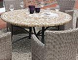 Consul Garden Gartenmöbel-Set, 6 Sessel, 6 Kissen, Polyrattan, Alu, runder Tisch mit Keramik-Mosaik, Stahlrohr, 678360,660502,678131