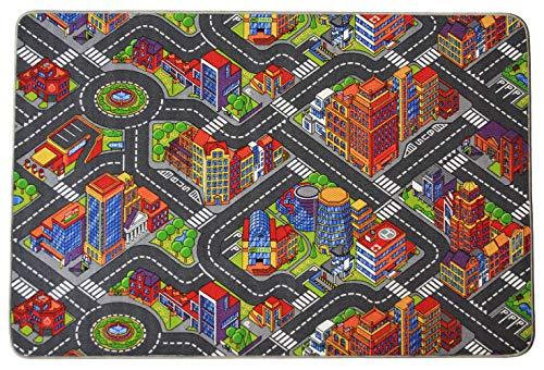 Primaflor - Ideen in Textil Tapis de Jeux Grande Ville 0,95m x 2,00m, Tapis de Jeu Enfant | Tapis Circuit Voiture | Tapis Sol Enfant de Haute Qualité