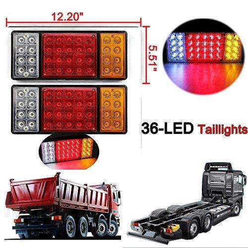 2 x wasserdichte 36 LED Rücklichter Anhänger hinten Schwanz Licht Kontrollleuchte DC12V für Trailer LKW Boot - Beleuchtung, Kontrollleuchten
