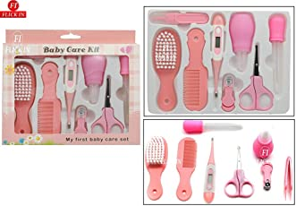 Flick In Baby Grooming Kit Infant Nursery Set Manicure Set Newborn Healthcare Kits Child Care Baby Nail Clipper, Scissor, Tweezer, Nasal Aspirator, Dropper Feeding, Thermometer Brush Comb Cleaning Sets (8 Pieces, Pink)