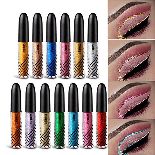 Allbesta Flüssig Glitter Eyeliner Lidschatten Wasserfest Langanhaltend Metallic Shiny Augen Make-up...