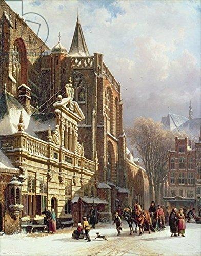 "Alu-Dibond-Bild 90 x 120 cm: ""View of the Hoofdwacht and the Grote Kerk, Zwolle (oil on panel)"", Bild auf Alu-Dibond"