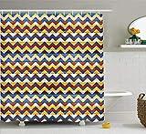 Abakuhaus Duschvorhang, Symmetrischer Zick Zack Muster über Bemalten Holz Zaun Mehrfarbig Bunter Digital Druck, Blickdicht aus Stoff inkl. 12 Ringe für Das Badezimmer Waschbar, 175 X 200 cm