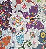 Staab's Beschichtete Baumwolle Bunte Schmetterlinge, Blumen, Ornamente (Meterware, Qualität Zum Nähen) (100 x 140 cm)
