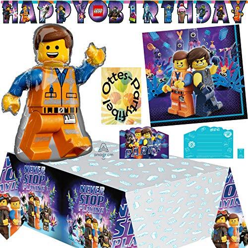 HHO Lego Movie-2 Lego-Party-Set Movie-Deko-Set 27tlg. für 8 Gäste Servietten Tischdecke Einladung Girlande Folienballon