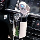 FMS Tragbare Auto Aschenbecher mit deckel und blauer LED Licht für Getränkehalter oder lüftung (Weiß)