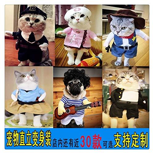 ZiXian Die globale online - shop Grenzüberschreitende für Halloween-Haustier Polizei gedrehte Kleidung beladene aufrechte Katzen- und Hundekleidung Teddy kreative Kleidung