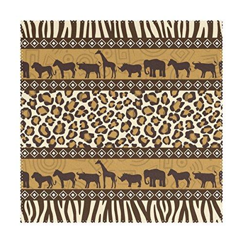 t wilden Tieren aus Afrika, Streifen- und Karo-Muster für den Esstisch, 4er-Set, hitzebeständig, waschbar, aus Polyester, Küchentischsets ()
