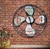 BOYI Wanduhren Wanduhr Uhre Vintage Wanduhr aus Schmiedeeisen Runde leise Uhr des Ventilators Home Wanddekoration Digitaluhr Größe: 39,5 cm