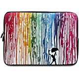 iCasso New Art Image Soft Neoprene 13-inch Laptop Notebook Computer MacBook Air MacBook Pro Sleeve Case Bag Cover Left and Right Brain Color Rain