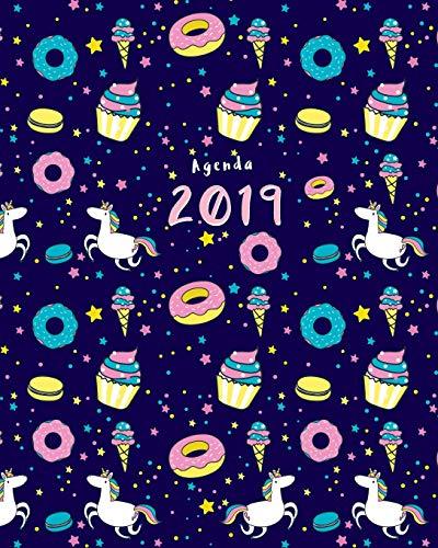 Agenda 2019: Semanal | Modelo unicornio y donut | 25x20 cm | 1 Semana en 2 Páginas | 52 Semanas | Planificador y Calendario | Diario (Enero a Diciembre 2019)