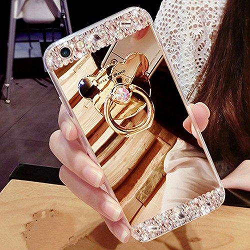 Für iPhone 7,Etsue Soft Silikon Schutzhülle Handyhülle Schutzhülle Silikon Backcover Case Dünn Anti-Shock Bumper Case Schön Mode Niedlich Muster Ultradünne TPU Silikon Weich Flexible Schutzhülle Stoßd Bär Ring mit Strass,Gold