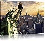 Gigantische Freiheitsstatue in New York, Format: 100x70 auf Leinwand, XXL riesige Bilder fertig gerahmt mit Keilrahmen, Kunstdruck auf Wandbild mit Rahmen, günstiger als Gemälde oder Ölbild, kein Poster oder Plakat