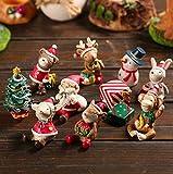 Msai–8pezzi decorativi ornamenti resina mini animali pupazzo di Babbo Natale albero micro giardino paesaggio vaso Craft Dollhouse Decor Christmas Gift Toys
