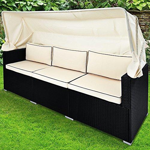 Deuba Poly Rattan Gartensofa Lounge Schwarz Faltbares Dach 7cm Dicke Auflage 3 Sitzer Couch Gartenliege Gartenmöbel