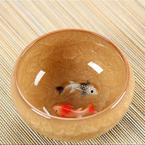 emousport Ice Crack Glasur Keramik Kung Fu Tee Set Anaglyphenbrille Fisch Tasse auf einzelne Tasse Probe Tee Tasse gelb Fisch Tee