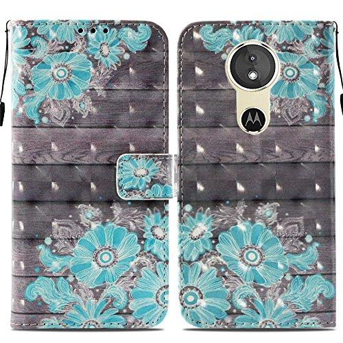 Ooboom® Motorola Moto E5/G6 Play Hülle 3D Flip PU Leder Schutzhülle Stand Handy Tasche Brieftasche Wallet Case Cover für Motorola Moto E5/G6 Play - Blume Blau