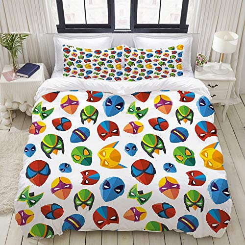 Paare Kostüm Comic - MIGAGA Bedding Bettwäsche-Set,Legendäre Zeichentrickfigur Masken Flash Comic Kostüm Print,Mikrofaser Bettbezug und Kissenbezug - (160 x 220 cm)