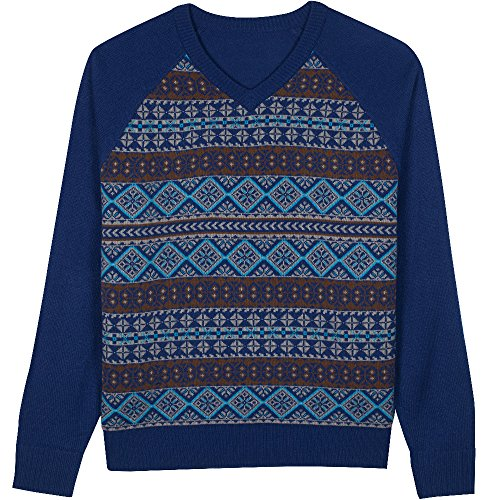 Blueberry Pet Herren Festtagsspaß Fair Isle Stil V-Ausschnitt Pullover in Yale-Blau, M, Einzelstück, Herrenbekleidung (East Pullover Side Collection)