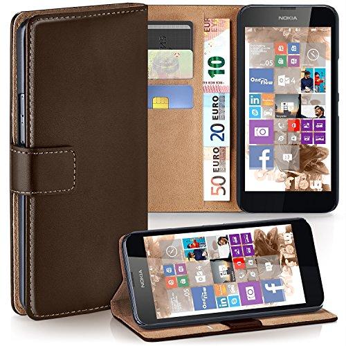 moex Nokia Lumia 630 | Hülle Dunkel-Braun mit Karten-Fach 360° Book Klapp-Hülle Handytasche Kunst-Leder Handyhülle für Nokia Lumia 630/635 Dual SIM Case Flip Cover Schutzhülle Tasche