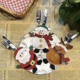DAMENGXIANG Vaisselle Sac de Table Cadeau de Noël Père Noël Bonhomme de Neige Couverts Fourchette Couteau Poche Décoration de Noël (3Pcs/Set)