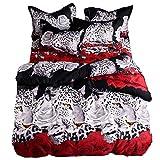 XWLIU 3D Leopard Weiß Und Rote Rose Bettwäsche Set Blumendrucke 4Stück Bettbezug Set,200x230cmfour-pieceset