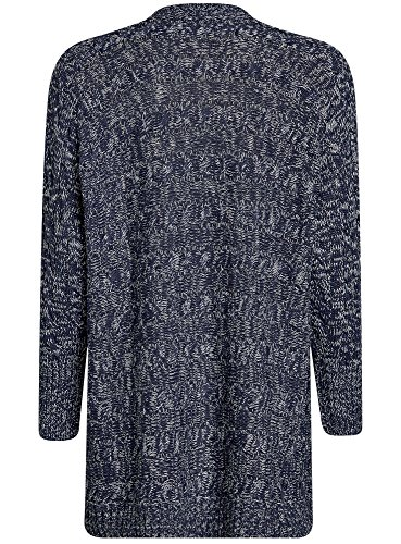 oodji Collection Damen Verschlussloser Cardigan mit Strickmuster Blau (7912M)