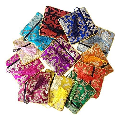 Princess Brokat (Gold Fortune Schmuckbeutel aus Seide, Brokat, mit Kordelzug, Geschenkbeutel, verschiedene Farben, 12 Stück)