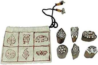 A N Handicrafts Wooden Printing Stamp Block Hand-Carved with Bag (Brown, ANH_03)