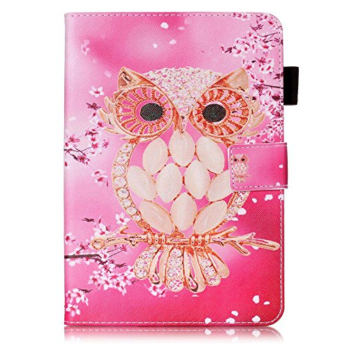 Apple iPad Mini 1 / iPad Mini 2 / iPad Mini 3 / iPad Mini 4 Case [with Free Earphone], Billionn 3D glitter PU Leather Flip Cover Shell Wallet Slim Stand Protective Cover for Apple iPad Mini 1 / iPad Mini 2 / iPad Mini 3 / iPad Mini 4 (Shell Owl) Test