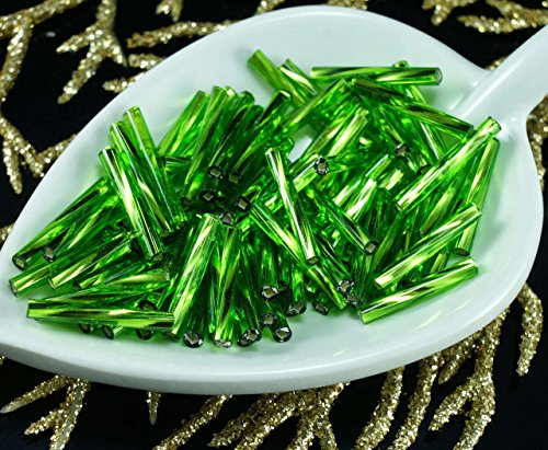 100pcs-x-15mm-extra-lungo-verde-argento-foderato-giro-di-vetro-ceco-perline-bugle-preciosa-tubi