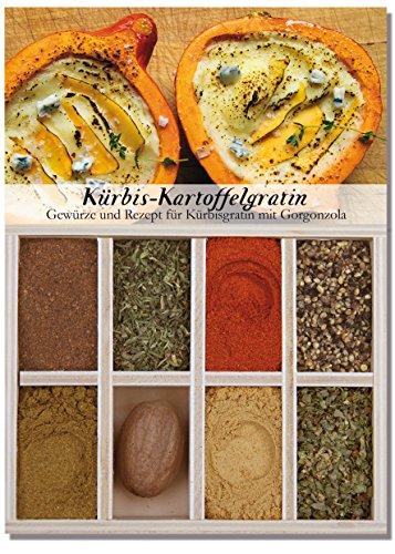 Kürbis-Kartoffelgratin – 8 Gewürze für Kürbisgratin mit Gorgonzola (48g) – in einem schönen Holzkästchen – mit Rezept und Einkaufsliste – Geschenkidee für Feinschmecker – von Feuer & Glas