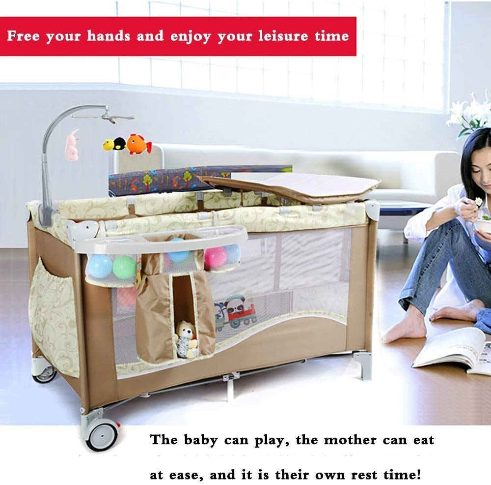 BHDYHM Bedside Sleeper Baby Includes Travel Bag, and Mattress Travel Cot, Correcting The Back Foldable Crib, Safety Padded Cots Unisex BHDYHM * The game bed mode, let the baby play safely, the music rack is equipped, don't worry that the baby will cry, liberate the mothers hands to do housework and create a warm home! * Safe height, don't worry that the baby will fall in the game bed, the baby can play, the mother can eat at ease, and it is their own rest time! *Moms are worried about the safety of the baby, but also take care of the husband's dinner, don't worry, the game bed mode, baby Jiankang happy play, mothers do cooking with heart! 6