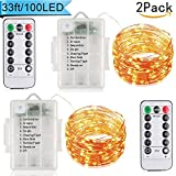2Pack Fairy String Copper Wire Lights - 100LEDs 33ft 8 Modes Battery with Wireless Remote Control for Christmas,Party,Festival Decorative Indoor Fairy Lights