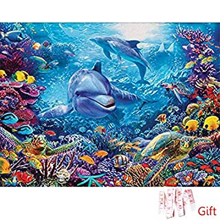 nuosen DIY 5D Diamond Painting Full Kits, Underwater World & Dolphin Crystal Rhinestone Embroidery Pictures Arts Craft Gift for Home Wall Decor