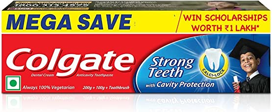 Colgate Strong Teeth - 200 + 100 g + Toothbrush (Saver Pack)