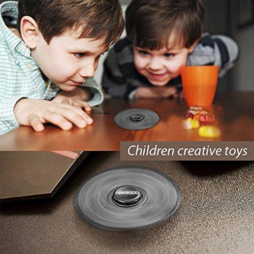 Spinner Fidget, Ubegood Fidget Toys Hand Spinner Ultra Schnelle Spinner Spielzeug Focus Spielzeug Finger Spielzeug für Kinder und Erwachsene Spielzeug Geschenke (Schwarz) - 5