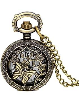 JewelryWe Retro Bronze Schmetterling und Blume Openwork Abdeckung Taschenuhr Quarz Uhr Umhängeuhr Kette Geschenk